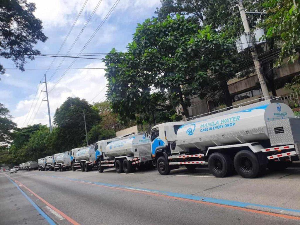 Manila Water's 30 water tanker trucks