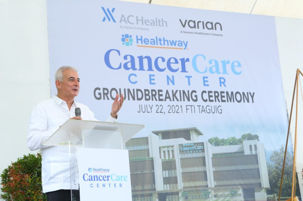 Fernando Zobel de Ayala, Chairman of the Board of AC Health in his opening remarks at the ceremonial groundbreaking of the Healthway Cancer Care Center